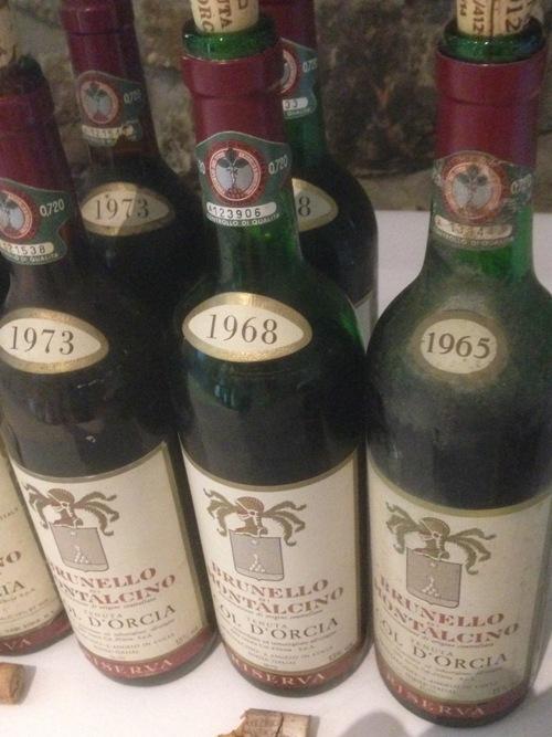 la verticale di Brunello  Col d'Orcia, alcuni dei campioni in degustazione