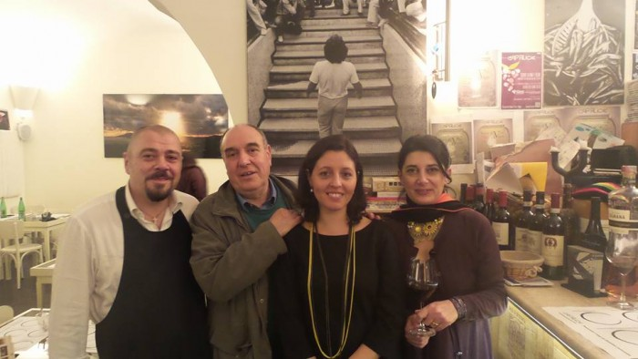 Cantine Lonardo a Cap'alice, da sinistra Mario Lombardi, Sandro e Antonella Lonardo, Marina Alaimo