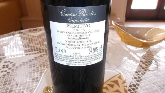 Controetichetta Capotesta Primitivo Puglia Igt 2010 Cantine Paradiso
