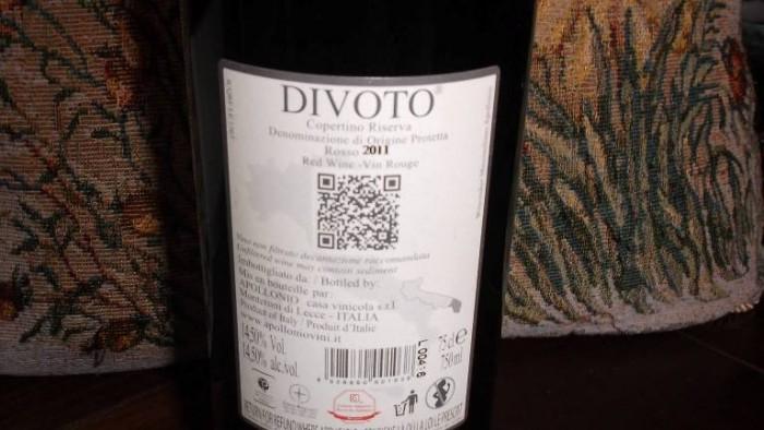 Controetichetta Divoto Copertico Riserva Dop 2011 Apollonio