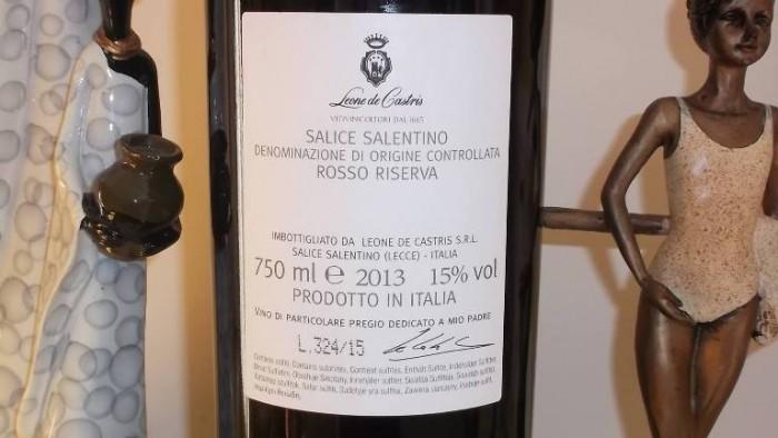 Controetichetta Per Lui Salice Salentino Rosso Riserva Doc 2013 Leone De Castris