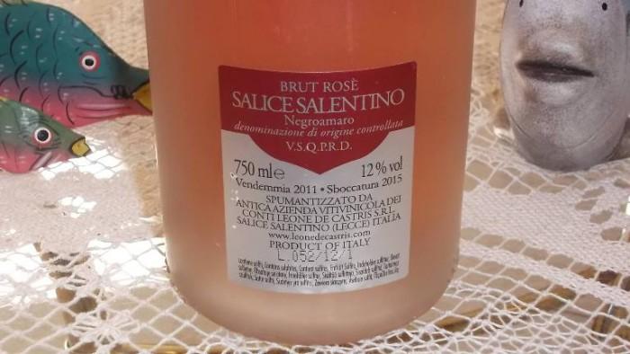 Controetichetta Spumante Brut Rosé Metodo Classico Five Roses Salice Salentino Doc 2015 Leone De Castris