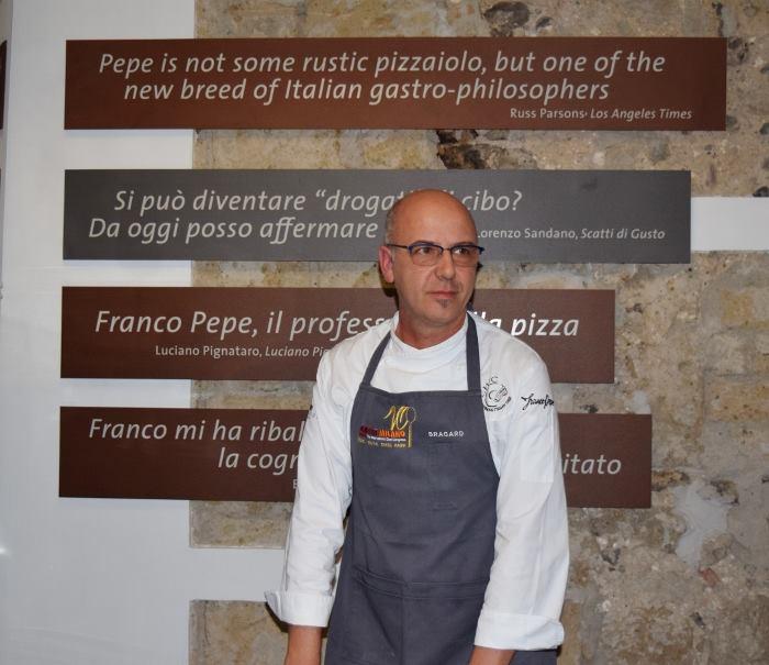 Franco Pepe nella nuova sala degustazione