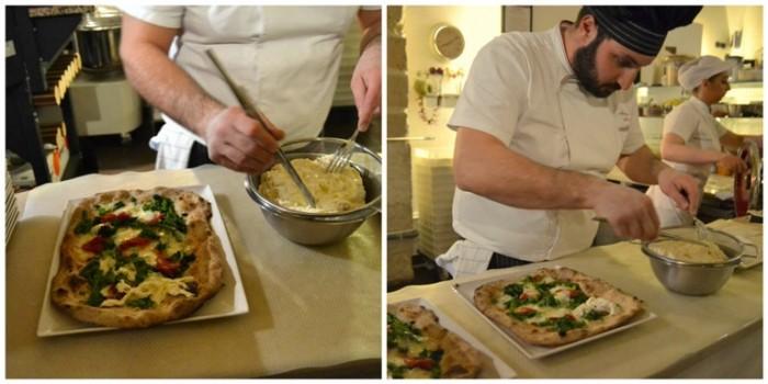 Lievito 72, la preparazione della pizza  con la rifinitura degli ingredienti all'uscita del forno