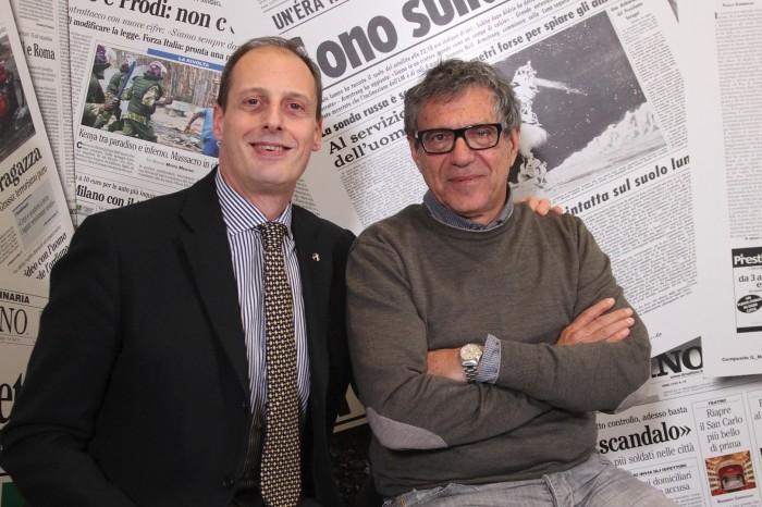 Massimo Di Porzio di Umberto e Salvatore Grasso di Gorizia nella sala registrazione del mattino Tv. Domani il video su www.ilmattino.it!(NEWFOTOSUD RENATO ESPOSITO)