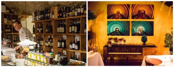 Osteria della Brughiera, Paolo Benigni nella sala aperitivo con salumi e prodotti tipici e un angolo della sala