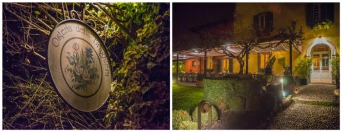 Osteria della Brughiera, l'insegna e il giardino