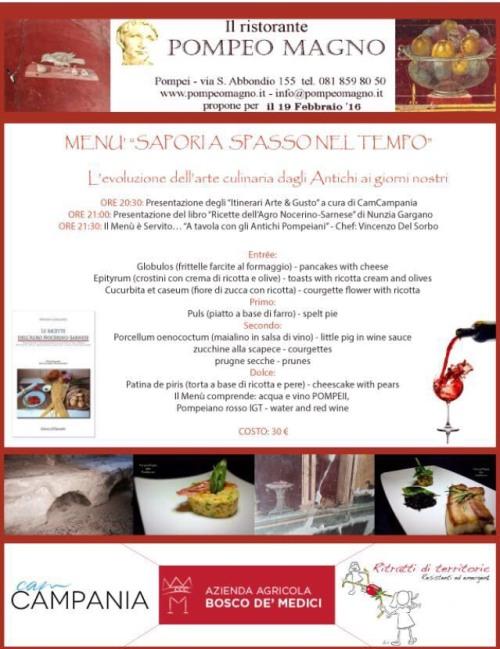 Presentazione de Le ricette dell'Agro in una serata al ristorante Pompeo Magno di Pompei