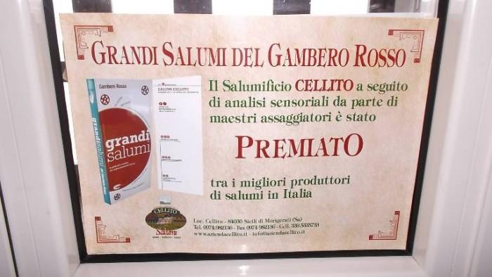 Salumi Cellito, il premio del Gambero Rosso