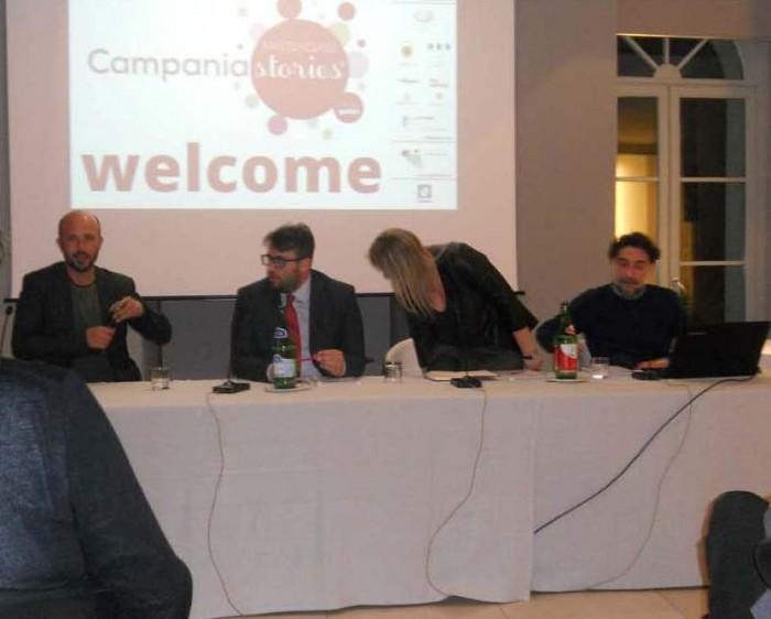 Campania Stories, il convegno, da sinistra Gerardo Vernazzaro, Massimo Iannaccone, Dianta Cataldo e Fortunato Sebastiano