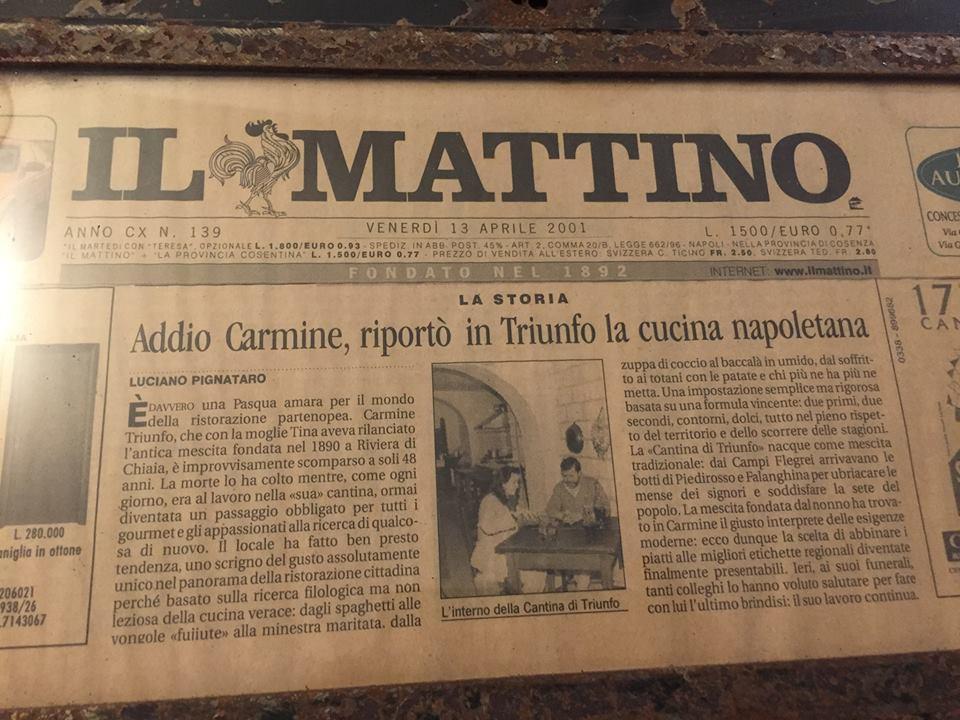 Cantine di Triunfo, Il mio articolo sul Mattino in ricordo di Carmine del 2001