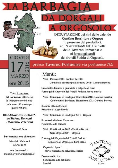 Cena degustazione con i vini di Cantina Beritti e Orgosa alla Taverna Portuense di Roma