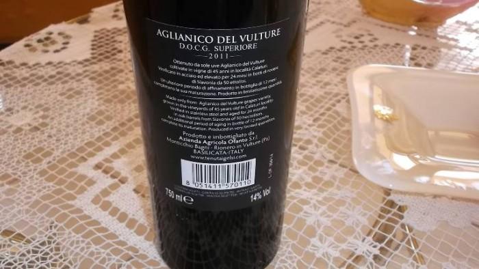 Controetichetta Aglianico del Vulture Docg 2011 Tenuta I Gelsi