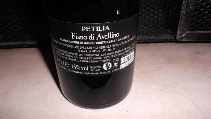 Controetichetta Fiano di Avellino Docg 2014 Petilia