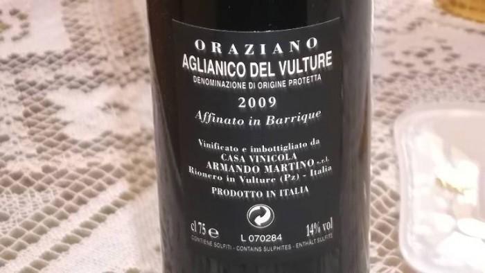 Controetichetta Oraziano Aglianico del Vulture Dop 2009 Armando Martino