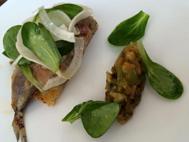 Dilia, sardina con foie gras e finocchio, ratatouille di pomodori verdi