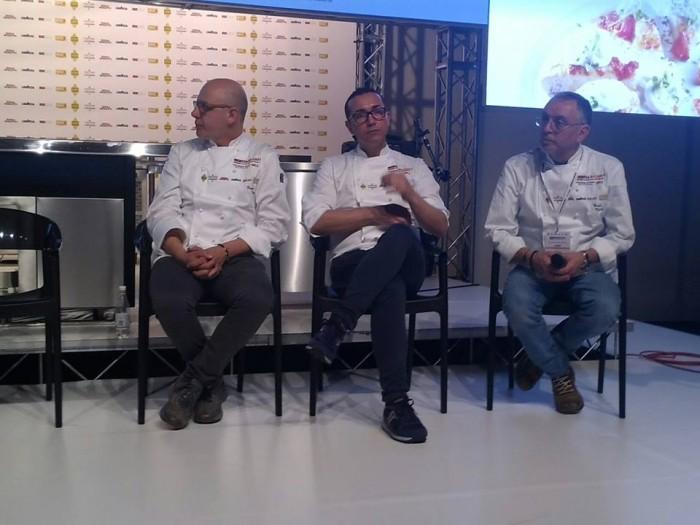 Identità Golose 2016, i tre pizzaioli napoletani da destra Franco Pepe, Gino Sorbillo e Enzo Coccia
