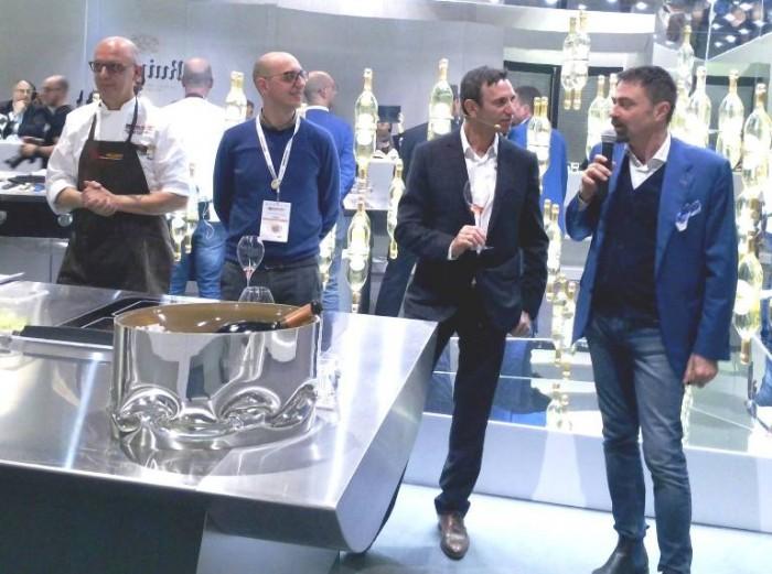 Identità di Champagne, Franco Pepe con il suo consulente agronomo Vincenzo Coppola, lo Chef de Cave di Ruinart e il giornalista Bruno Petronilli