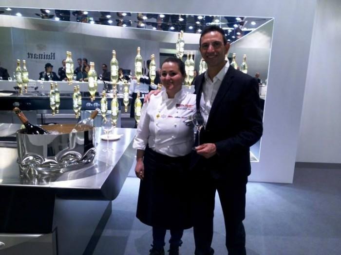 Identità di Champagne, la giovane  chef  di Dattilo Caterina Ceraudo, con lo Chef de Cave Ruinart Frèdèric Panaïotis