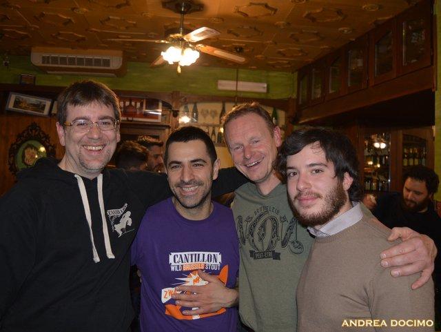 Jean Van Roy all' Ottavonano. Da sinistra, Andrea Camaschella, Gianluca Polini, Jean Van Roy e Andrea Docimo
