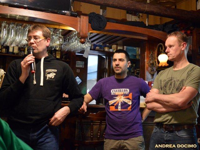 Jean Van Roy all' Ottavonano. Da sinistra, Andrea Camaschella, Gianluca Polini e Jean Van Roy