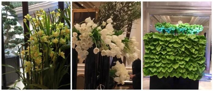 Le Cinq, orchidee, i fiori freschi in sala e decorazioni floreali all'ingresso