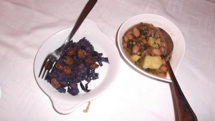 Osteria Tancredi, cavolo nero con olive e fagioli con broccoli e patate