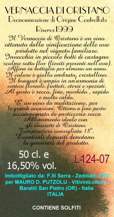 Retroetichetta Vernaccia d'Oristano Riserva 1999 Cantina Putzolu