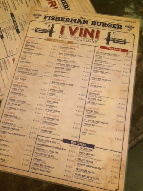 The Fisherman Burger, la carta dei vini