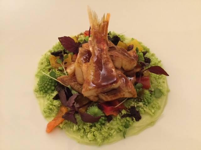 Triglia in carpione con riduzione alla soia, cuscus di cavolo romano, papaccelle ed olive nere