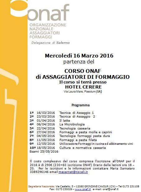 il Corso ONAF per assaggiatori di formaggio all'Hotel Cerere in partenza il 16 marzo