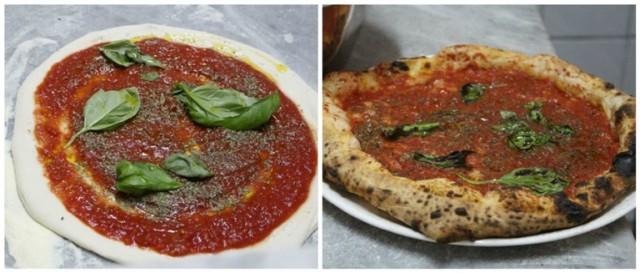 """La fase di preparazione e la cottura della pizza """"Marinara"""""""