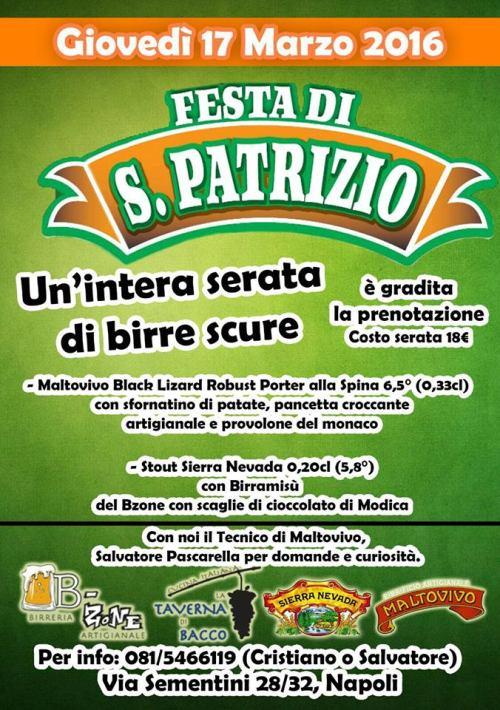 la festa di San Patrizio alla Taverna di Bacco