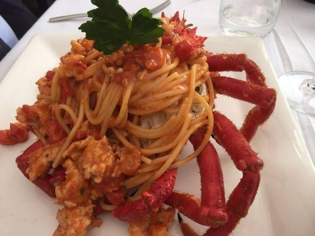 Terrazza Calabritto, spaghetti e granseola