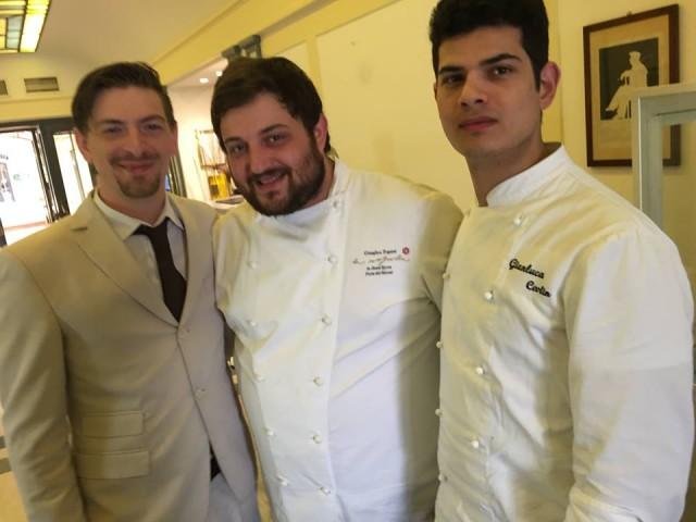 Cristoforo Trapani con il sous chef Gianluca Ceolin e il maitre Daniele Chiodi