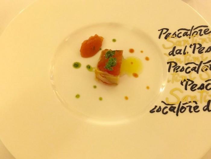Dal Pescatore Santini, composta di pomodoro, melanzana, basilico e sorbetto di pomodoro