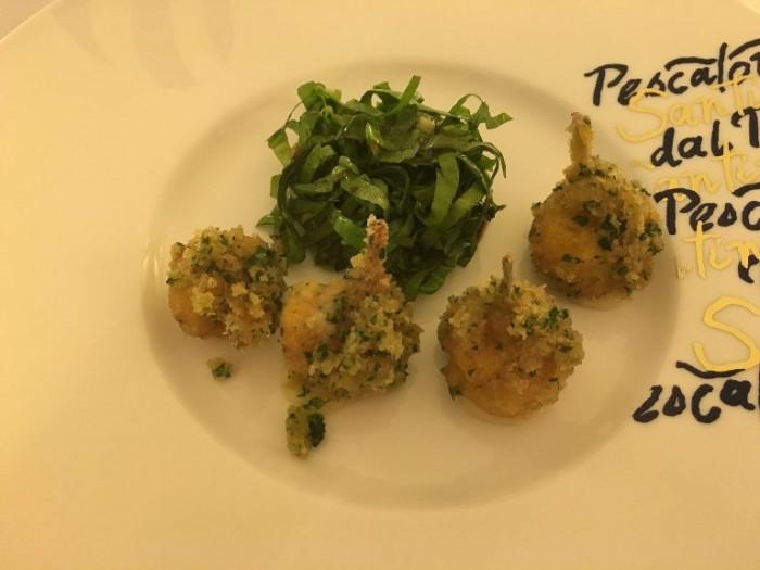 Dal Pescatore Santini, coscette di rana gratinate alle erbe
