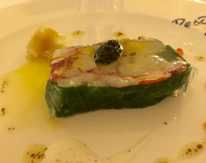 Dal Pescatore Santini, terrina di astice con caviale Oscietra e zenzero marinato