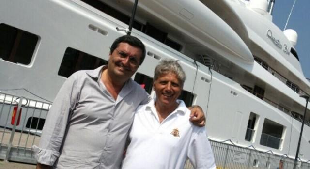 Francesco Luise, manager dell'Agenzia Marittima Luise Group, e Antonio Mellino, chef patron del ristorante 2 stelle Michelin I 4 Passi di Nerano