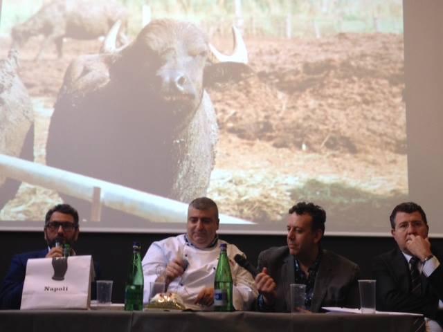 Fratelli La Bufala a Milano, da sinistra l'Amm. delegato Paolo Aruta, lo Chef Fabio Bisanti, il pasticciere-attore Germano Bellavia, il dott. Renato Rocco