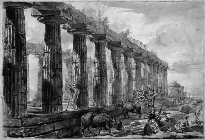 Giovanni Battista Piranesi, detto Giambattista le bufale al pascolo nel tempio di Hera