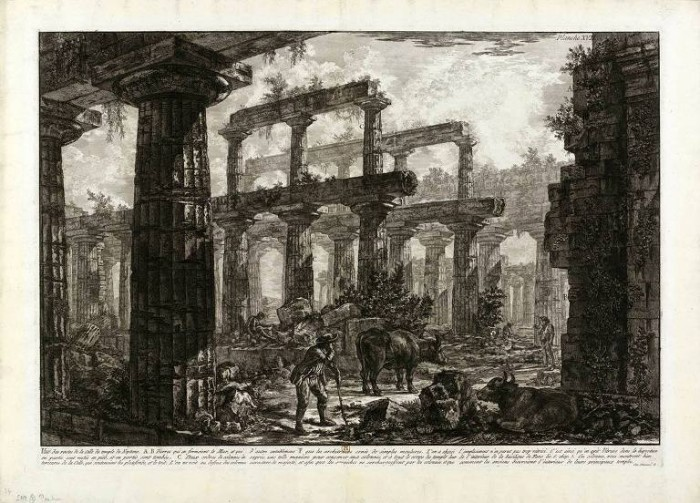 Giovanni Battista Piranesi, detto Giambattista le bufale al pascolo nel tempio di Nettuno