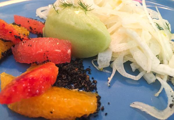 Gurdulù, insalata di agrumi, sorbetto e finocchi