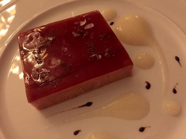 Palagio, terrina di foie gras con gelèe al vermouth di Prato