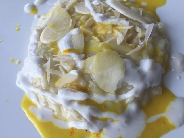 Gennaro Esposito, risotto con arancia, mandorla e asparago bianco