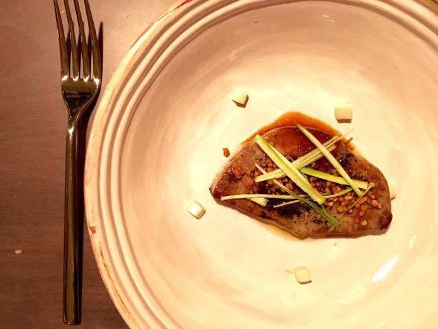Foie gras con alga nori, tofu, brodo di soja fermentata, sale di nocciola 2012