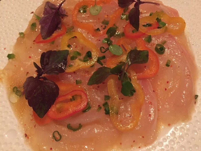 e Bernardine, Flash marinated, snapper silver citrus, jalapeno vinaigrette