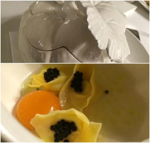 Indaco, consomme di zucca lunga di Napoli e tortellini ripieni di provolone del monaco