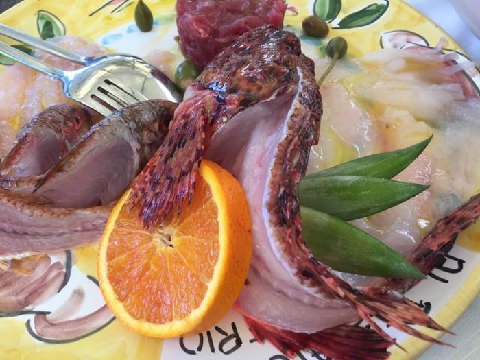 Al Pescatore Bari, crudi di scorfano, triglia e tonno