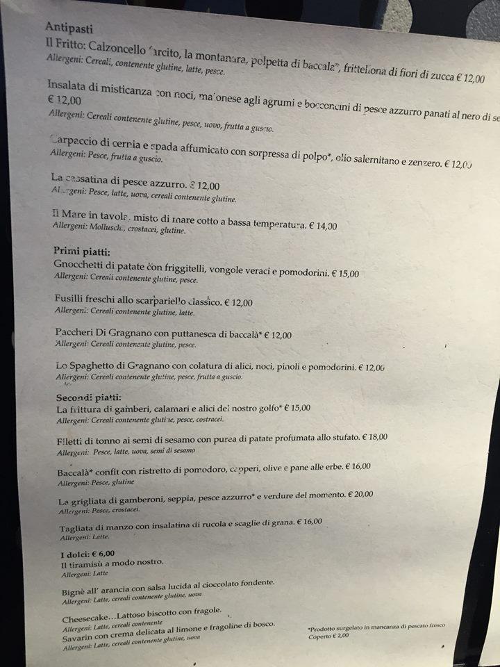 Locanda Moresca, il menu